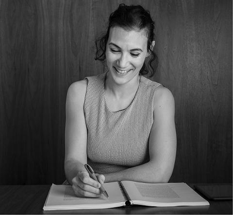 happy Diana pretending to be writing